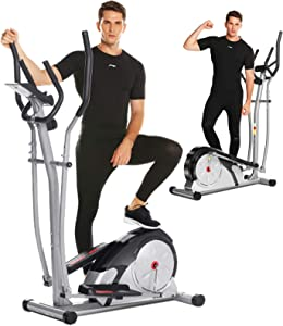 ANCHEER Elliptical Machine, Magnetic Elliptical Training Machine with Pulse Rate Grips and LCD Monitor, Smooth Quiet Driven for Home Gym Office Workout Max Capacity Weight 350LBS