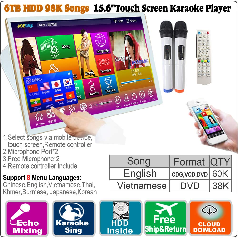 6TB HDD,98K Vietnamese+ English, 15.6'' Touch Screen Karaoke Player,Wireless Microphone Input, ECHO Mixing,Multilingual MENU and Fast Search, Remote Controller And Microphone Included