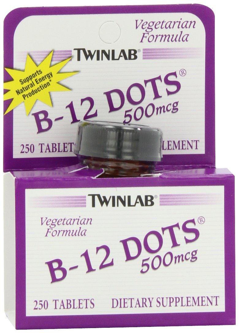 Twinlab B-12 Dots Vitamin B-12, 500mcg, 250 Tablets(Pack of 2)