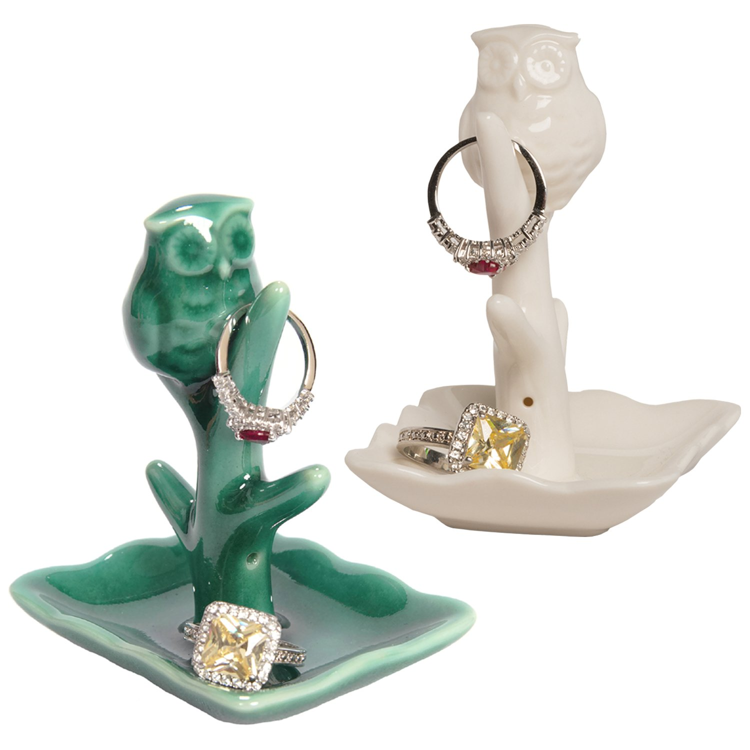 Beth Marie Luxury Boutique Owl Ring Holder with Tree Dish 2-Pack Teal and White Ceramic Engagement Wedding Ring Holders