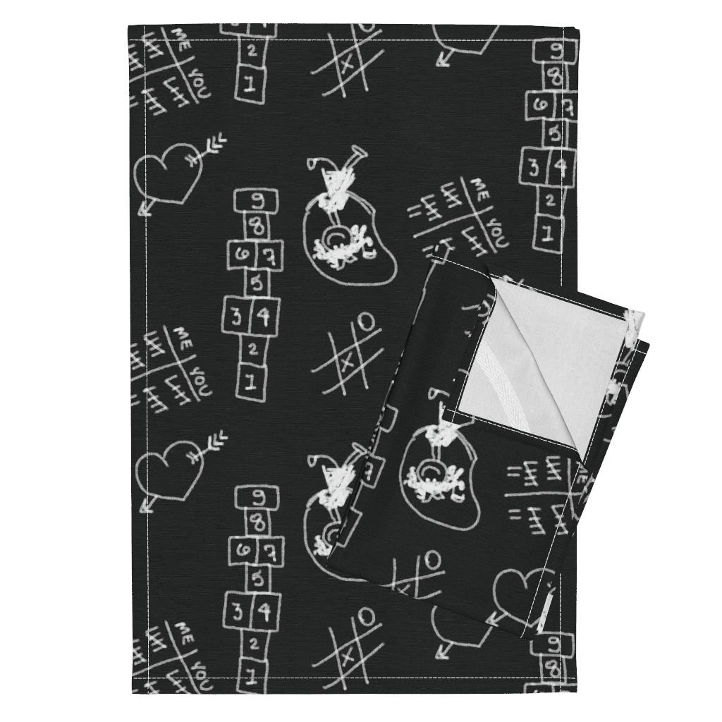 Roostery Exercise Recess School Chalk Hopscotch Games Kids Tea Towels Recess by Peacoquettedesigns Set of 2 Linen Cotton Tea Towels