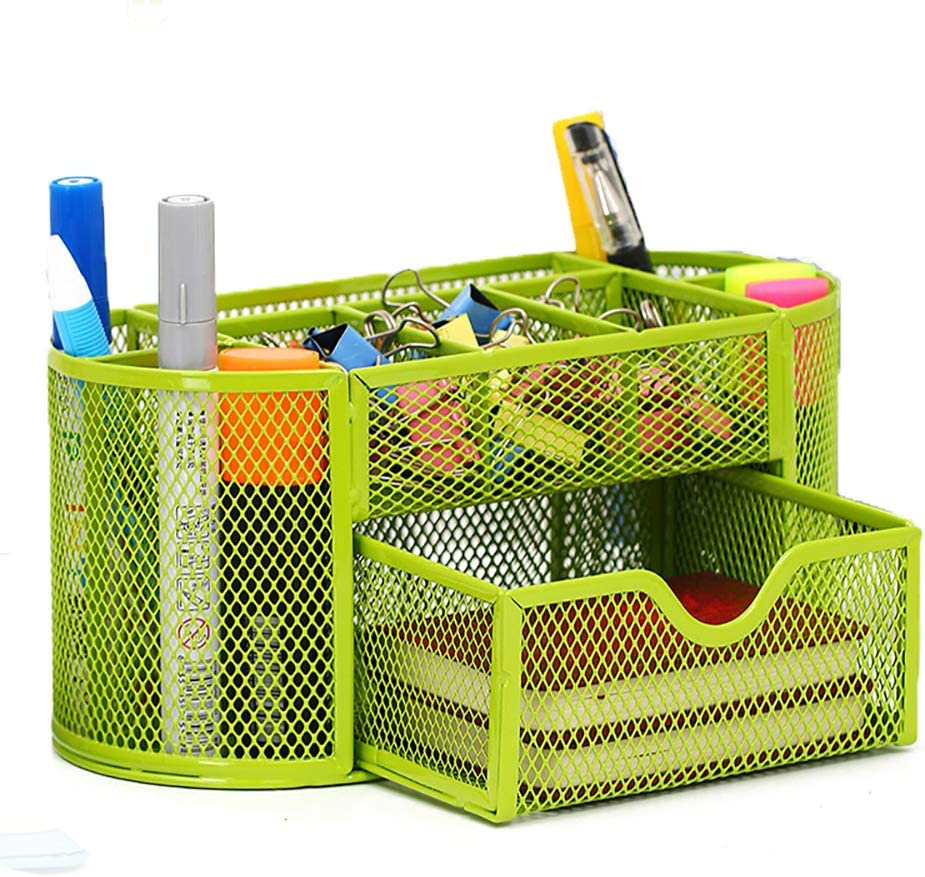 VANRA Metal Mesh Desk Supply Caddy Desktop Office Supplies Organizer Supply Holder 8 Compartments with Drawer (Green)
