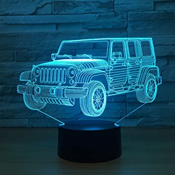 Toy Jeep Night Lights Car Gifts For Kids Birthday 3d Illusion SUV Desk Lamp Optical