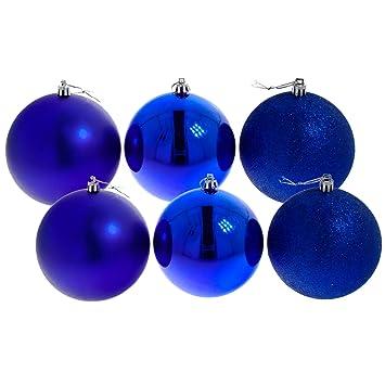 Weihnachtskugeln Blau.Christbaumkugeln Weihnachtskugeln 10 Cm 6er Pack Blau Glänzend Matt Glitzernd