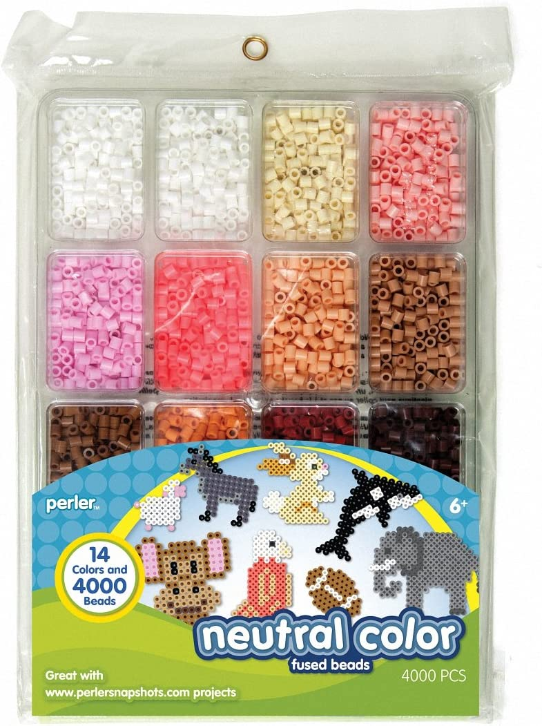 Perler Beads Neutral Colors Fuse Beads and Storage Tray For Kids Crafts, 4000 pcs