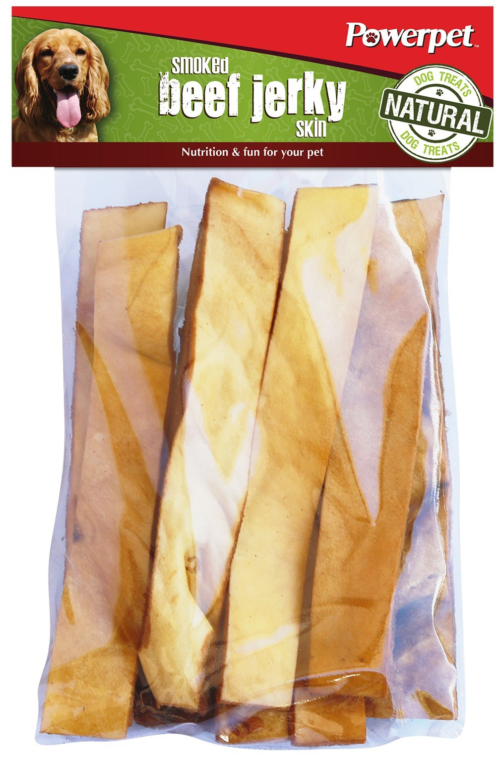 Powerpet: Smoked Beef Jerky Skins - Natural Dog Chew - 8 OZ Pack - Helps Improve Dental Hygiene - 100% Natural & Highly Digestible - Protein with Low Fat - Beef Jerky Dog Treat - Beef Skin and Meat