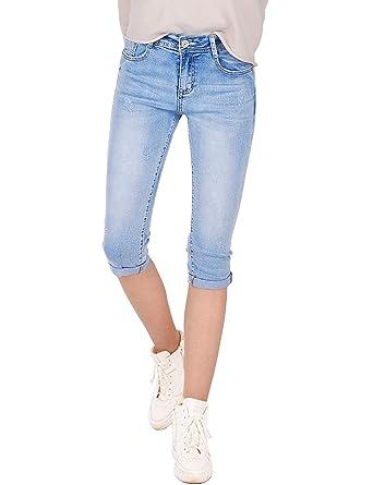 653425d85130f Fraternel Damen Jeans Hose Shorts Capri Knielang Stretch