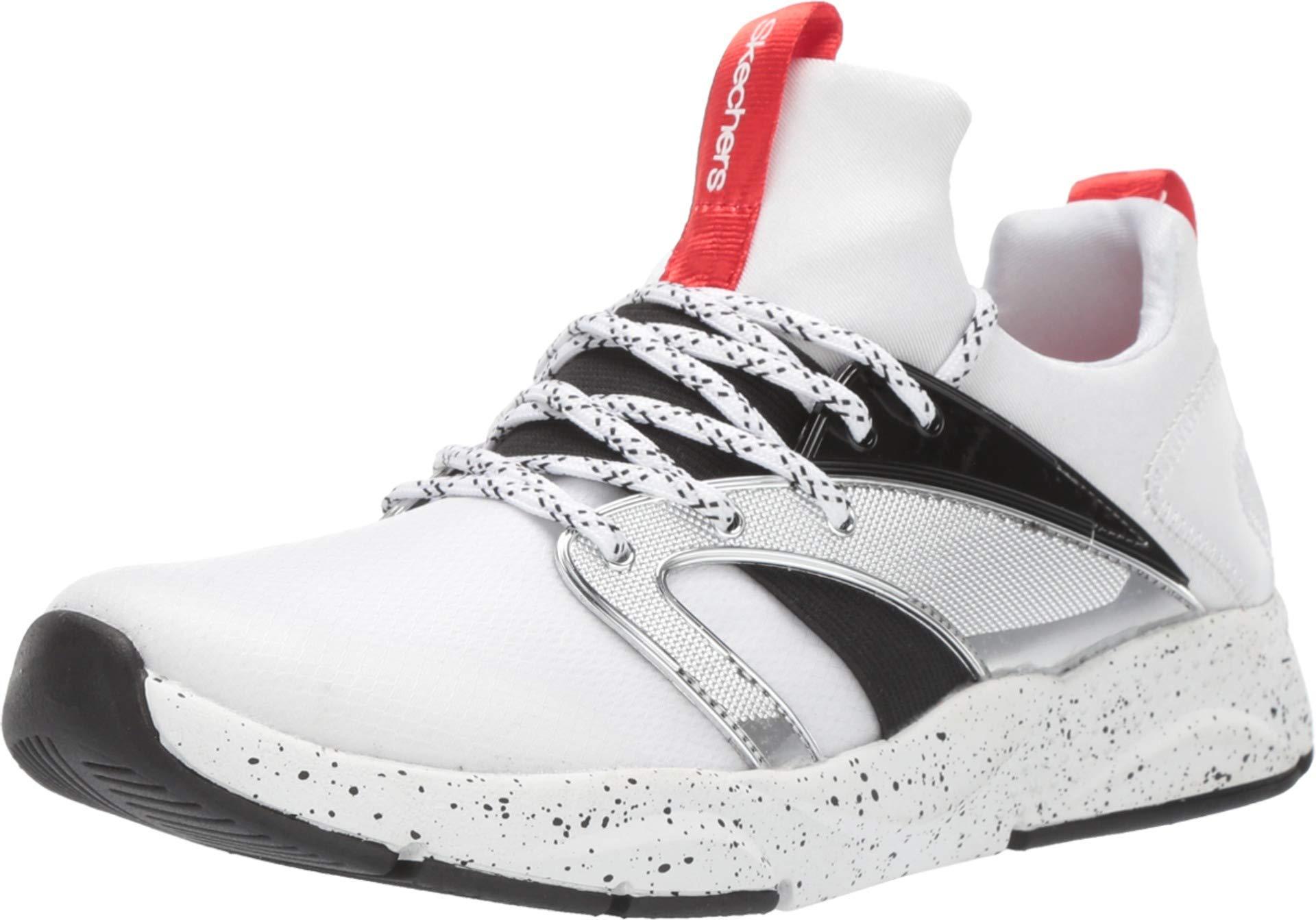 ویکالا · خرید  اصل اورجینال · خرید از آمازون · Skechers Kids Girls' Shine Status Sneaker, White/Black/Red, 4 Medium US Big Kid wekala · ویکالا