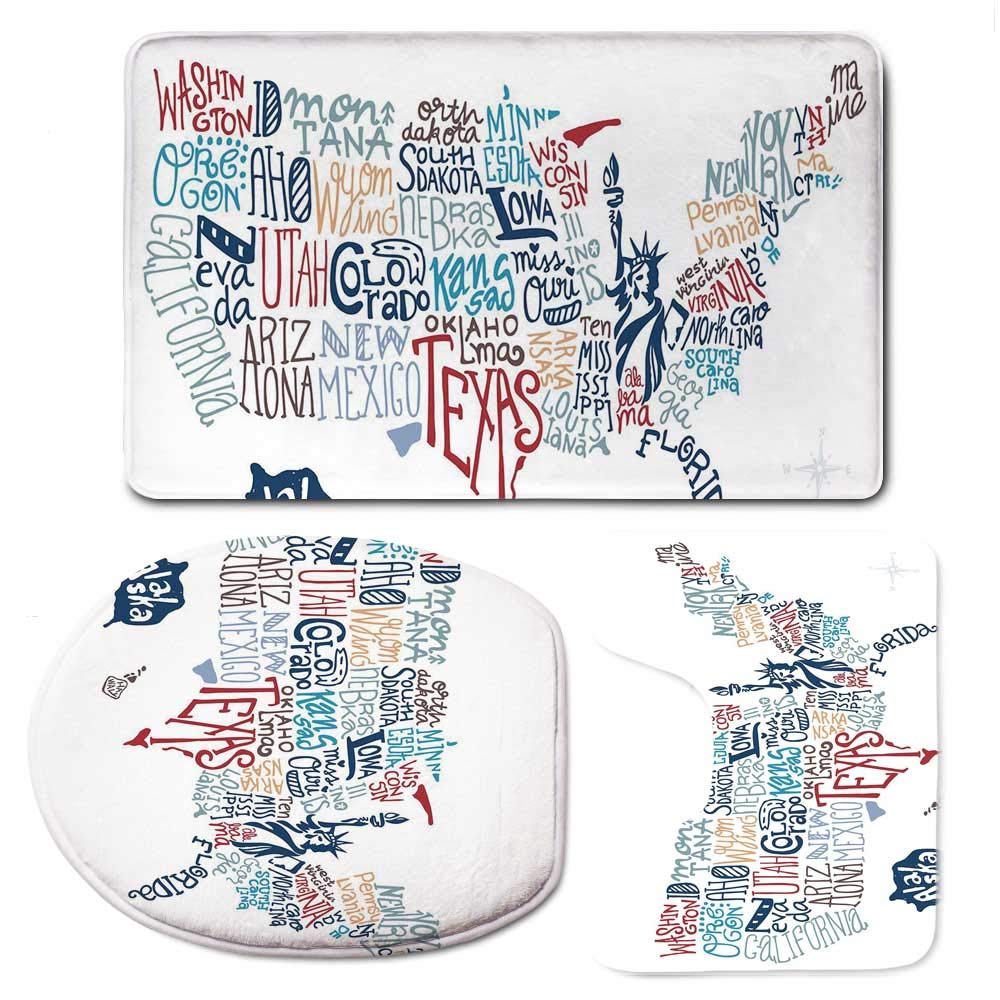 YOLIYANA USA Map Simple Bathroom 3 Piece Mat Set,Culture Tourist Names of American Town in Colorful Artful Typography City Design Decorative for Living Room,F:20'' W x31 H,O:14'' Wx18 H,U:20'' Wx16 H