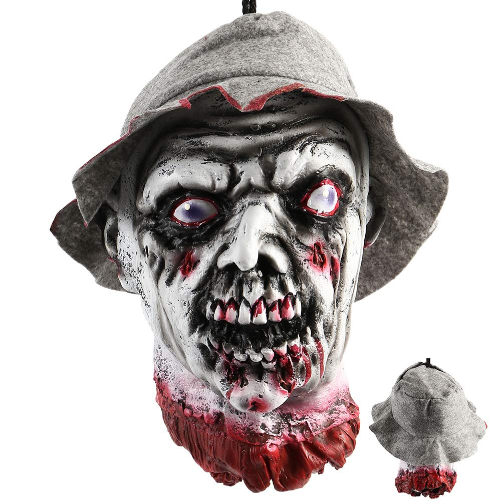 LITTLEGRASS Halloween Props Scary Hanging Severed Head Decorations,Life-Size Bloody Cut Off Corpse Head Ghost Animated Zombie Head for Haunted Houses Party Decor Funny Festive Supplies (Style 5) by LITTLEGRASS