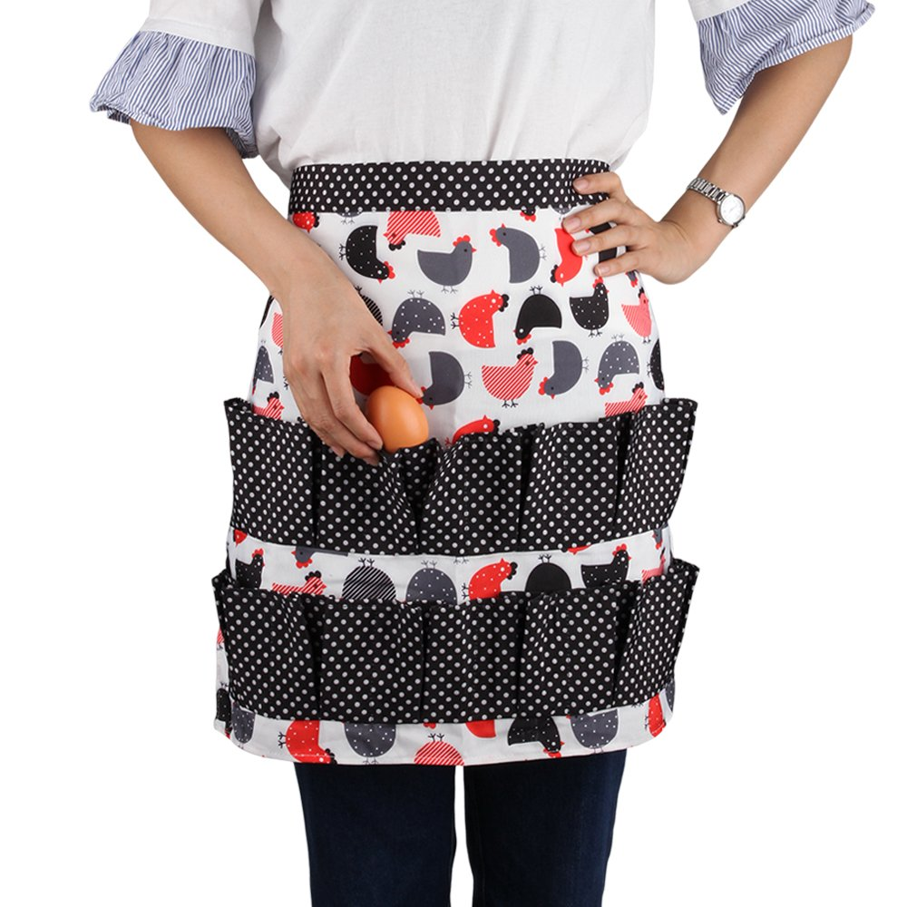 Fodiyaer Egg Gathering Apron Egg Holder,Apron for Collecting Hense Eggs,Duck/Teal/Goose/Chicken Egg,12 Pockets,Stitching Color Cute Apron