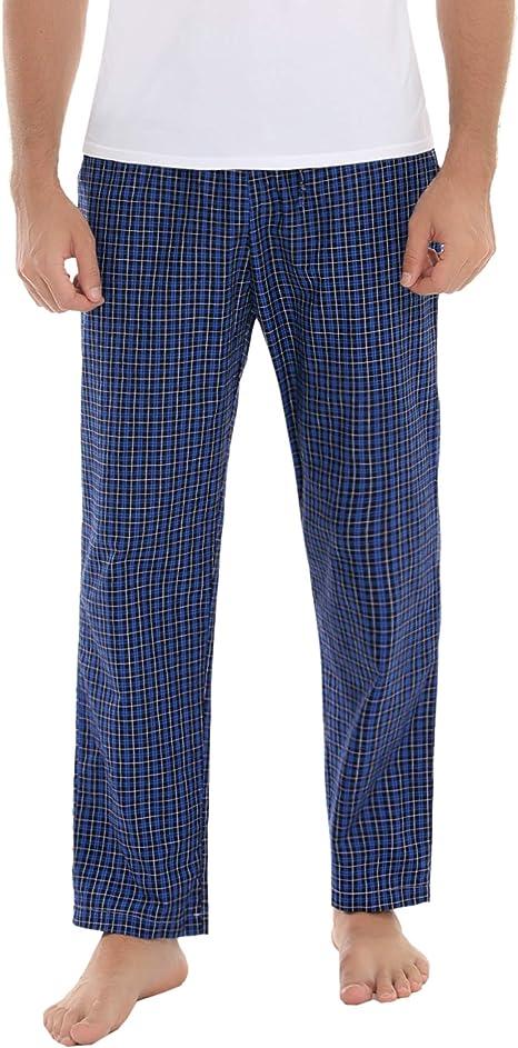 Aibrou Pantalon de Pijama Hombre Largos de Algodón Pantalones Pijama para Hombre de Cuadros Invierno Primavera Suelto y cómodo: Amazon.es: Ropa y accesorios