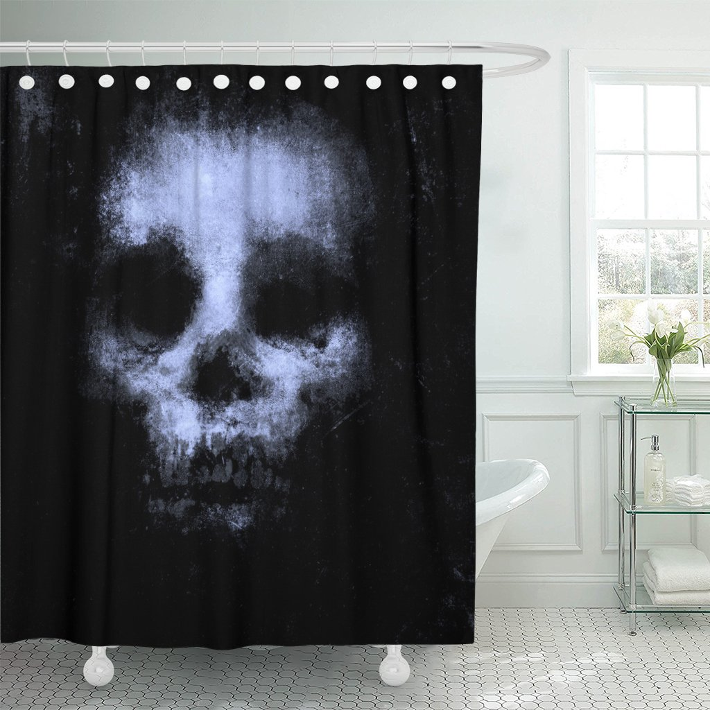 Emvency Shower Curtain Blue Vintage Horror Skull for Halloween and Movie Project Scary Abstract Waterproof Polyester Fabric 60 x 72 inches Set with Hooks