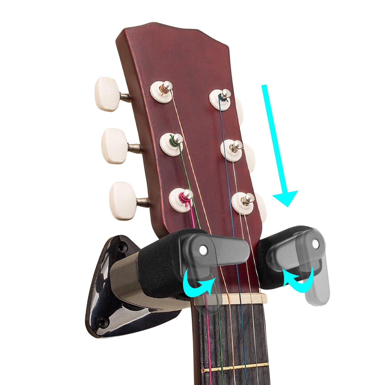 Debonice Soporte de Pared Para Guitarra con Auto Bloqueo para Guitarra Eléctrica,Banjo, Bajo, Ukulele, Mandolina (2 pack)