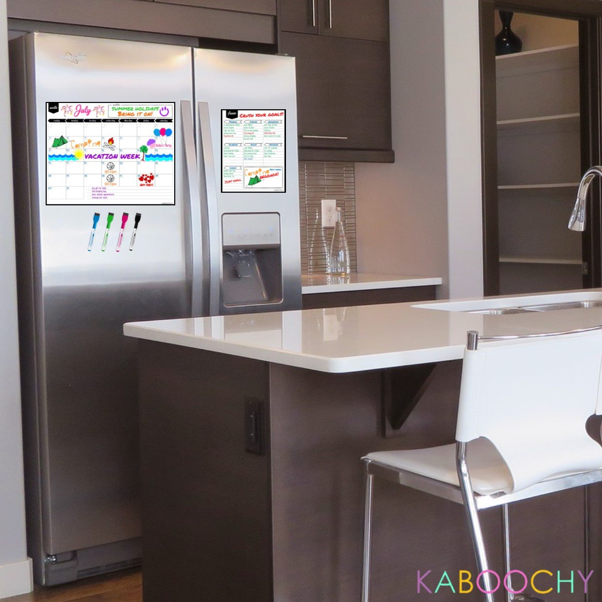 """Magnetic Dry Erase Monthly Fridge Calendar 17''x13'' with Multi-Purpose Planner 8.5""""x11"""" Plus 4 Bonus Markers. Reusable Refrigerator Planner/Erasable Whiteboard Kitchen Grocery List by KABOOCHY by KABOOCHY (Image #3)"""