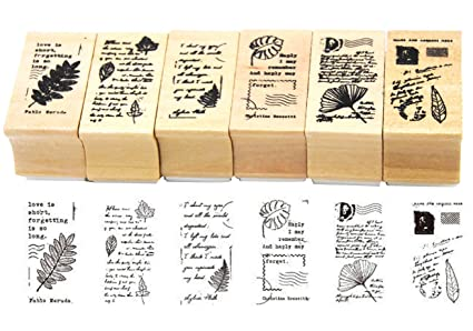 Amazon Youkwer 6pcs Cute Diy Wooden Rubber Stamps Diary