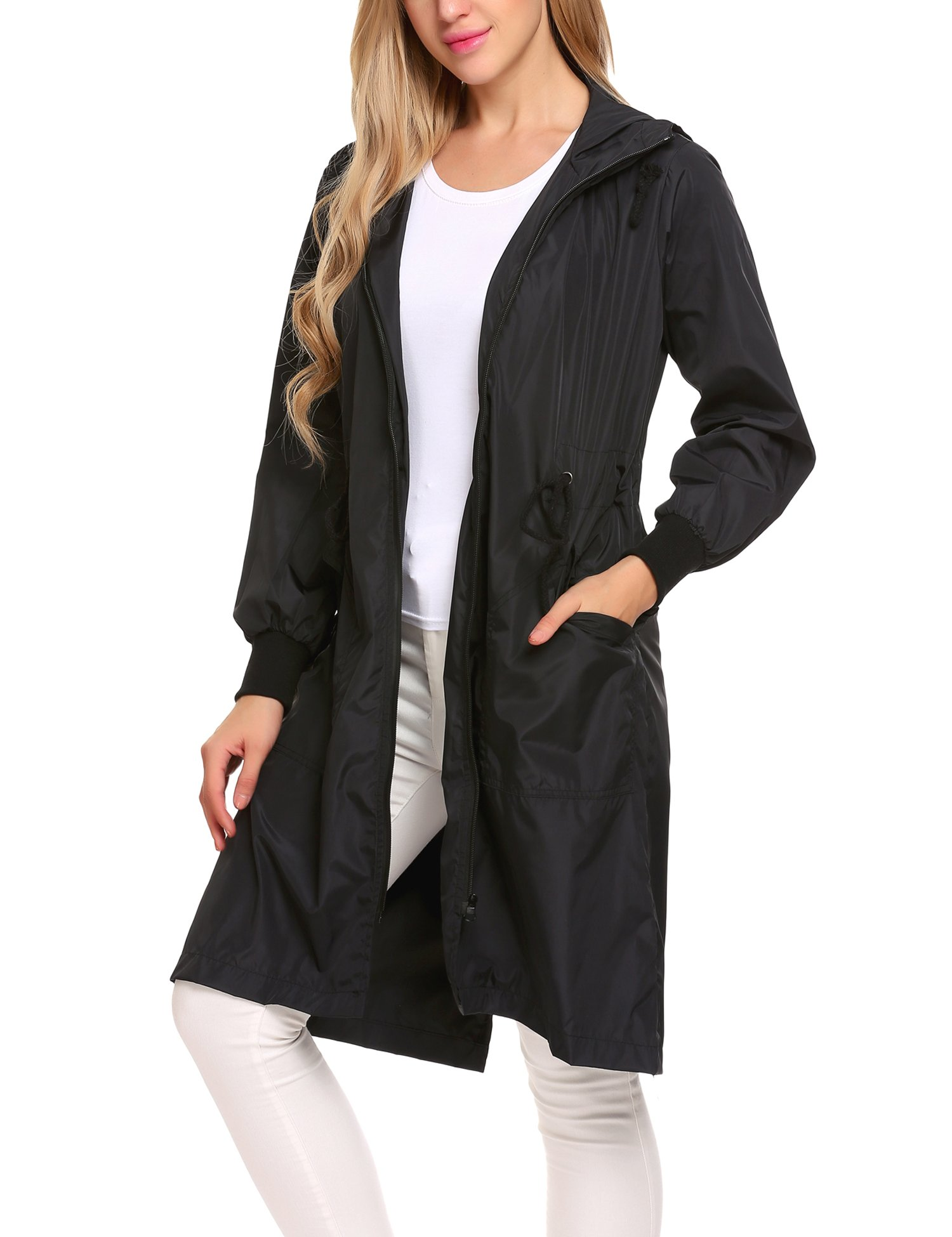 Zeagoo Women's Raincoat Durable Unisex Men Women Rain Poncho With Hat Hood For Outdoor Travel, Black, Medium