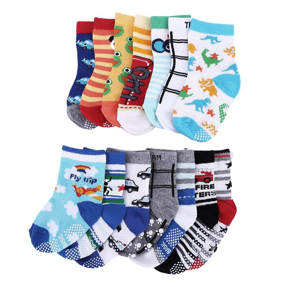 14 Pairs Anti-Slip Baby Socks Infants Kids Sock Assorted Catoon Print Cotton Socks Unisex for 1-3 Years Boys Girls Librao