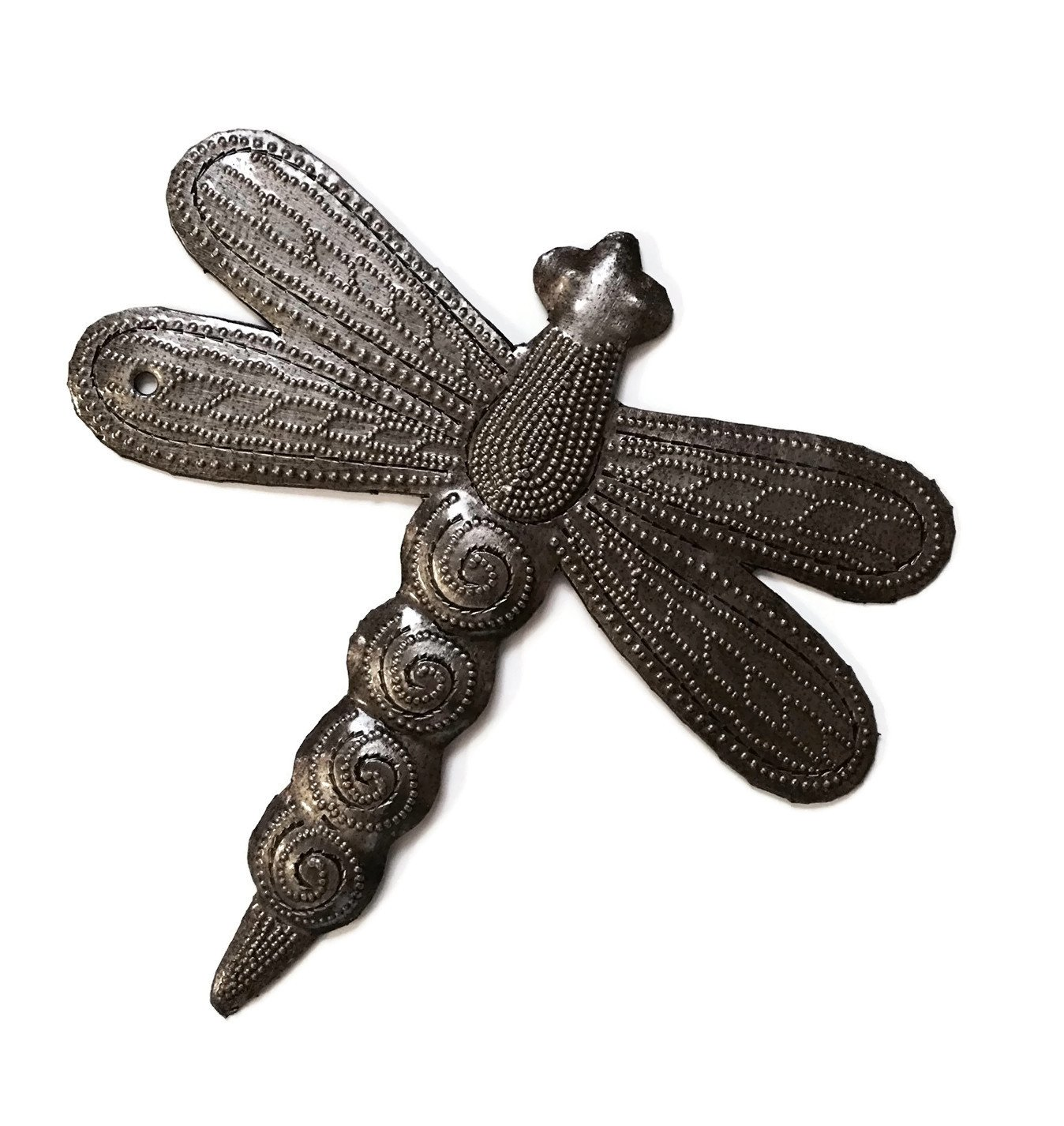 Set of 3 Small Garden Dragonflies 6 Inches, Quality Recycled Metal from Haiti, Backyard Decor - Dragonflies are harbingers of summer showers and renewal. These three are a delightful set, ready to hum through your garden and bring on the quenching rains! Fair trade is the name of the game, and it's the only way we play. - living-room-decor, living-room, home-decor - 71kMBA2Do6L -