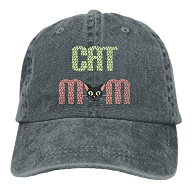 4aee0cca067 Image Unavailable. Image not available for. Color  Cat Mom Cartoon Women  Cute Denim Cotton Adjustable Plain Baseball Cap