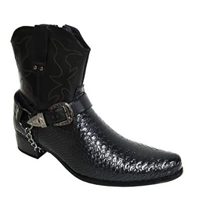 8fbc48389d2 Men's Western-Inspired Faux Leather Crocodile Print Cowboy Biker Ankle  Boots Pointed Toes