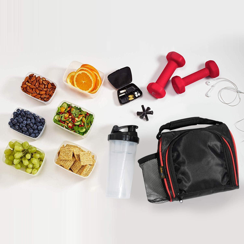 Paquete de preparaci/ón de comidas Kit de preparaci/ón de comidas con bolsa t/érmica refrigerada paquetes de hielo contenedores herm/éticos pastillero y batidor de prote/ínas