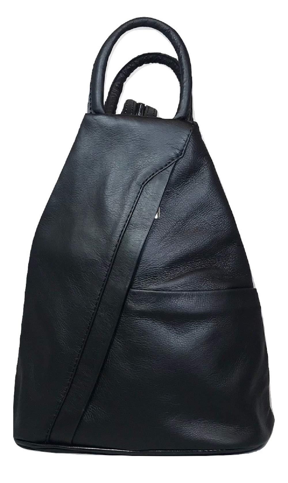 LaGaksta Submedium Backpack Convertible Teardrop Italian Leather Bag Purse Small Black