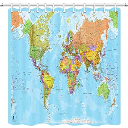 Amazon.com: JAWO World Map Shower Curtain for Bathroom, Educational ...