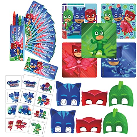 PJ Masks Birthday Party Favor Pack with Crayons, Stickers, Tattoos, and Masks!