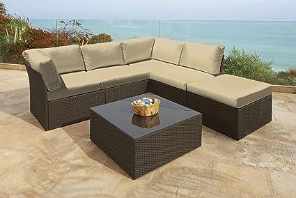 6 Pc Newport Jacobean Resin Wicker Outdoor Furniture Sectional Sofa, Table  U0026 Ottoman Set