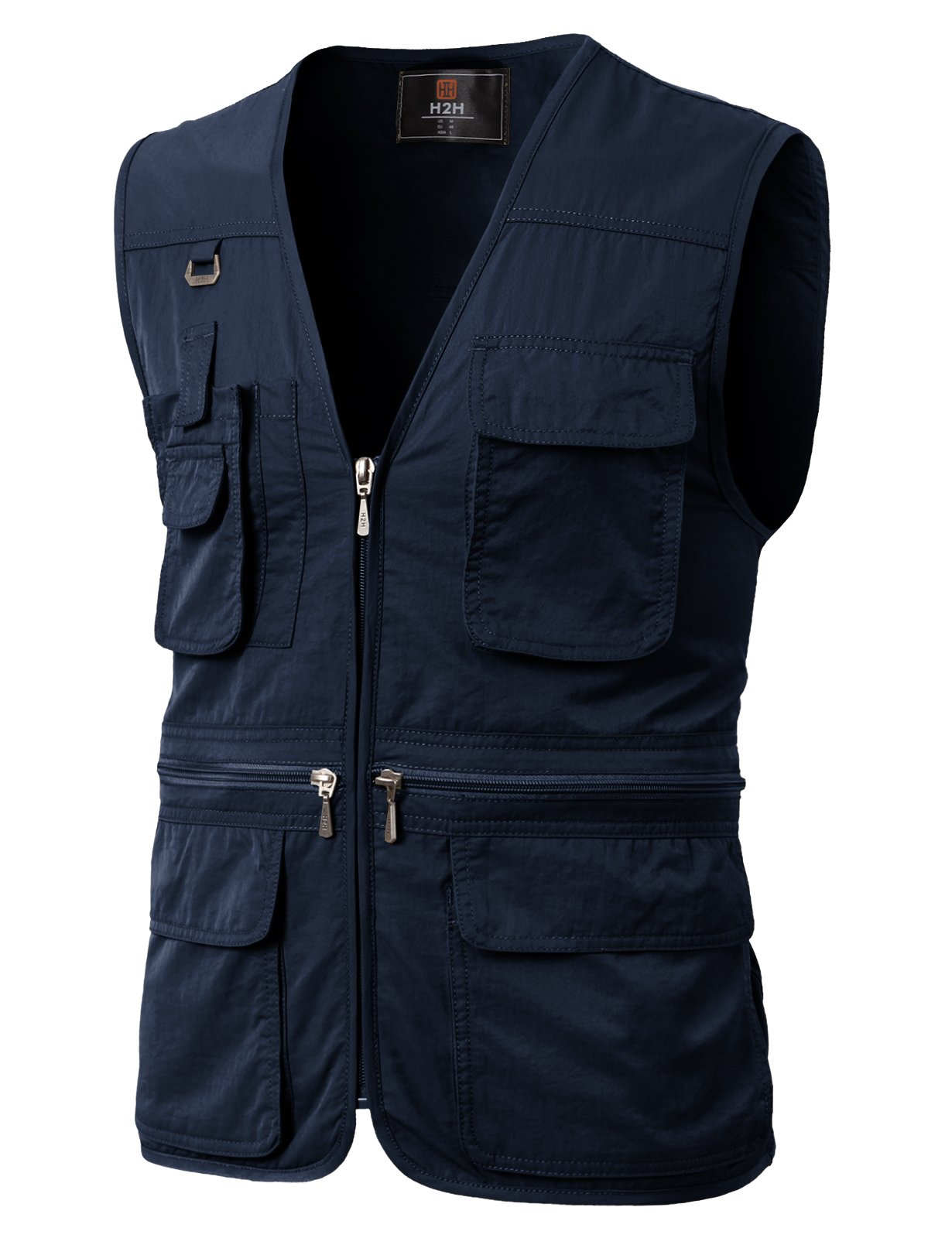 H2H Men's Stone Washed Denim Multi-Pocketed Fishing Vest Navy US 3XL/Asia 4XL (KMOV0113) by H2H