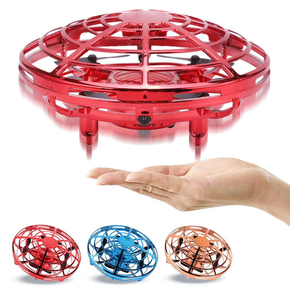AURISON Flying Ball Drones, Hand-Controlled Drone Quadcopter Flying Toys Interactive Infrared Induction Helicopter Ball with 360°Rotating and Flashing LED Lights for Kids or Adults Gifts(Red) by AURISON (Image #2)