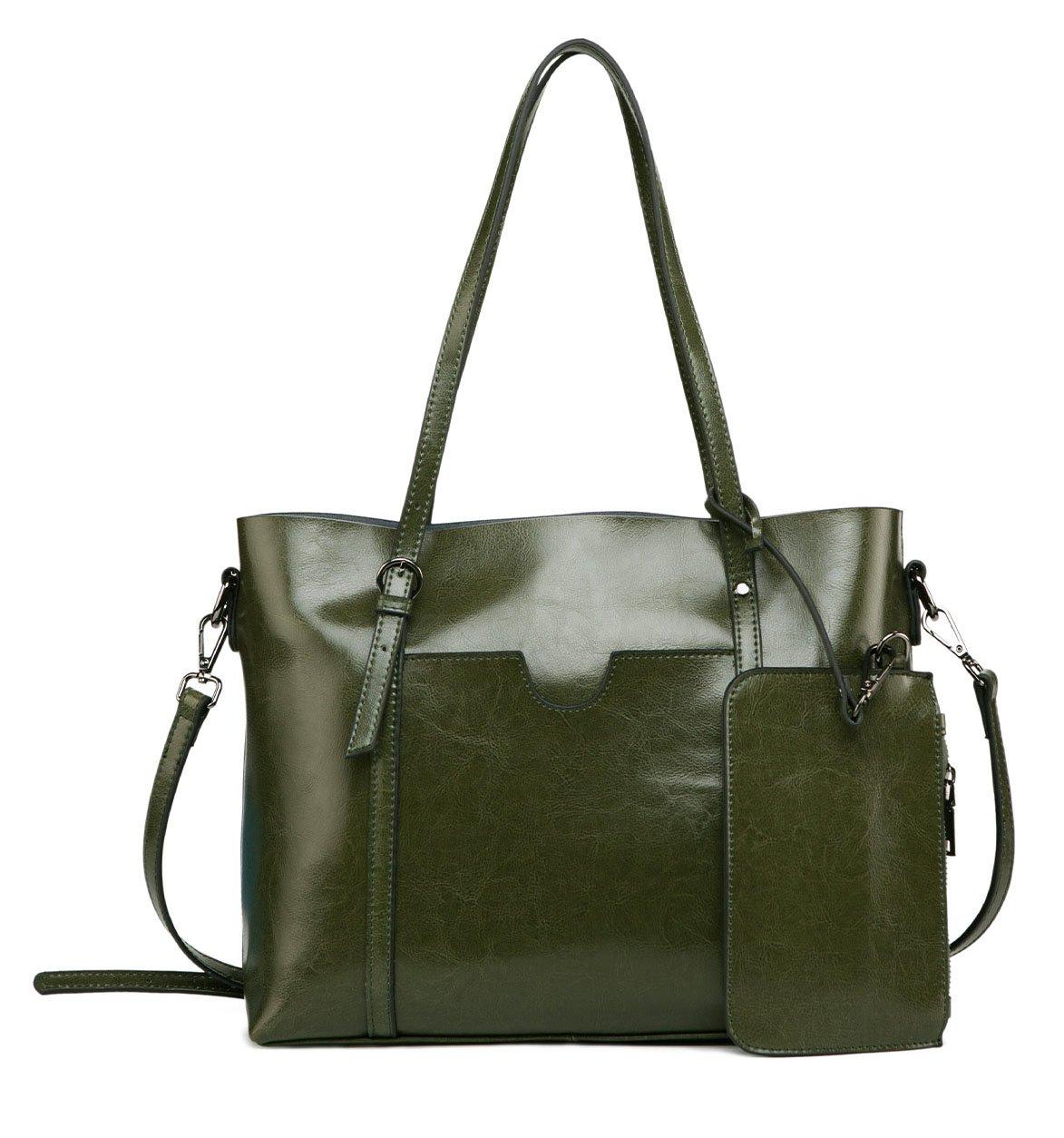 ilishop Genuine Leather Tote Classical Purse Large Capacity Handbag Top Handle Satchel Vogue Cross-bady Shoulder Bag (Armygreen)