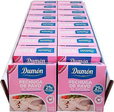DUMON - NUEVO - 18 Unidades de 160 gr de Conservas de Pechugas de Pavo en su Propio Jugo o Agua. Alimento Enlatado Alto en Proteínas 29 gr cada ...