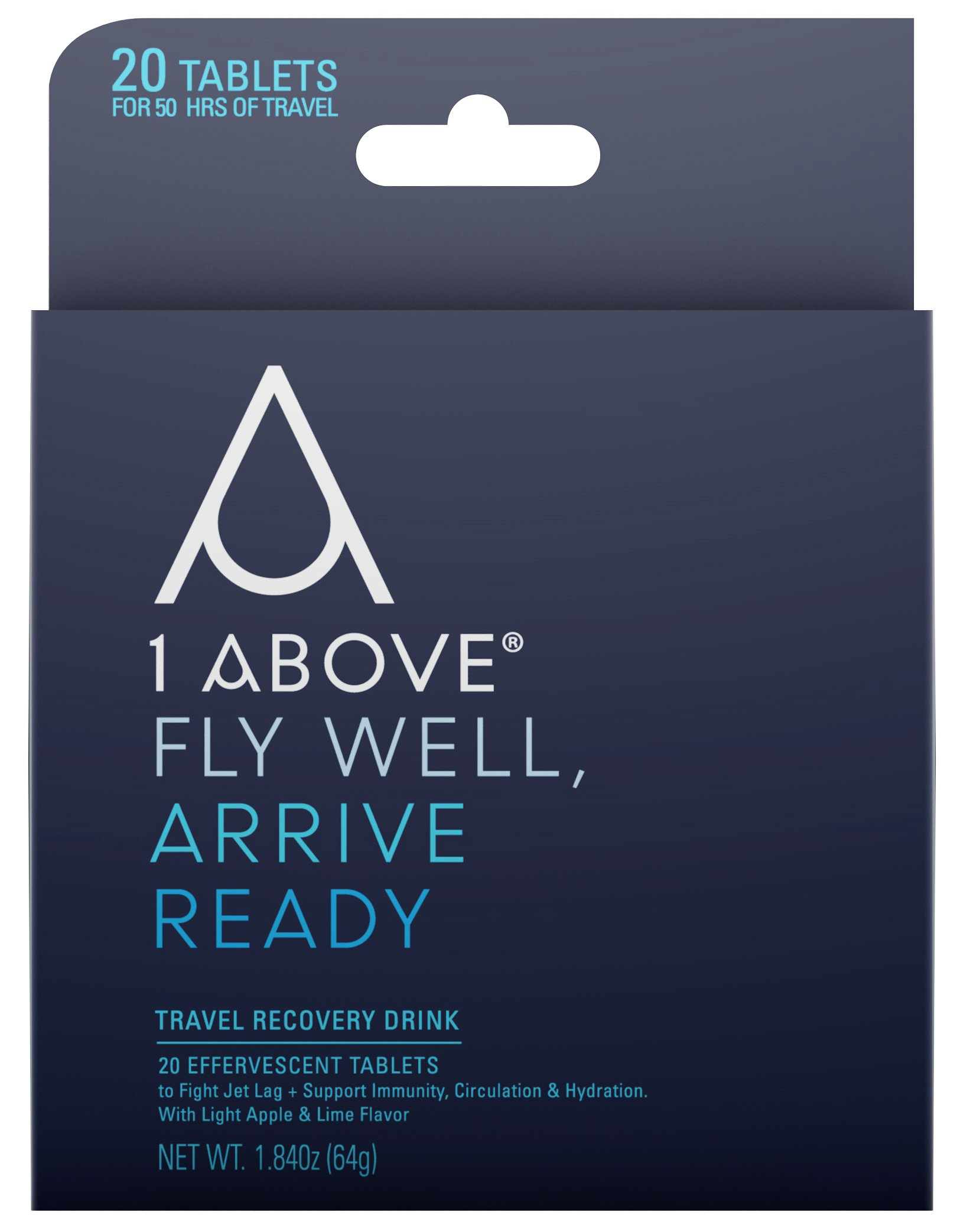 1Above Anti Jet Lag Flight Drink Tablets for Prevention and Relief from Travel Fatigue - Used by Pilots, Business Travelers - Pycnogenol Helps Energy, Circulation and Hydration When Flying - 20 Count by 1Above (Image #1)