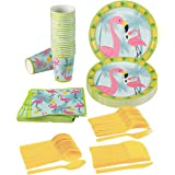 Juvale Flamingo Party Supplies – Serves 24 – Includes Plates, Knives, Spoons, Forks, Cups and Napkins. Perfect Tropical Birthday Party Pack for Kids Flamingo Themed Parties.