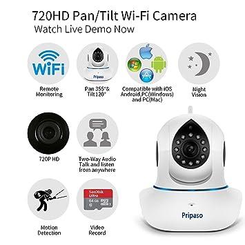 pripaso HD inalámbrica Wifi IP Cámara de seguridad sistema de vigilancia grabación de vídeo (color
