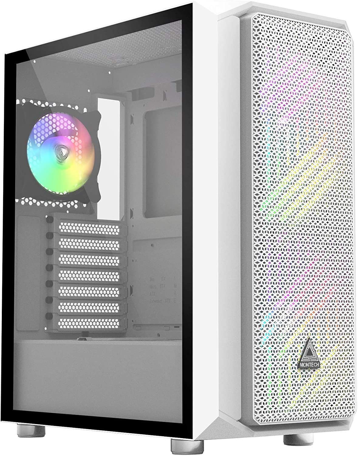 Montech AIR X White ATX Mid-Tower Case, Super High Airflow, Pre-Installed Dual 200mm ARGB Fans, 120mm ARGB Fan, ARGB Controller, Motherboard Sync, Pull Out Tempered Glass