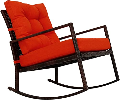 Jeco 3 Piece Rocker Wicker Chair Set with with Cushion, Black