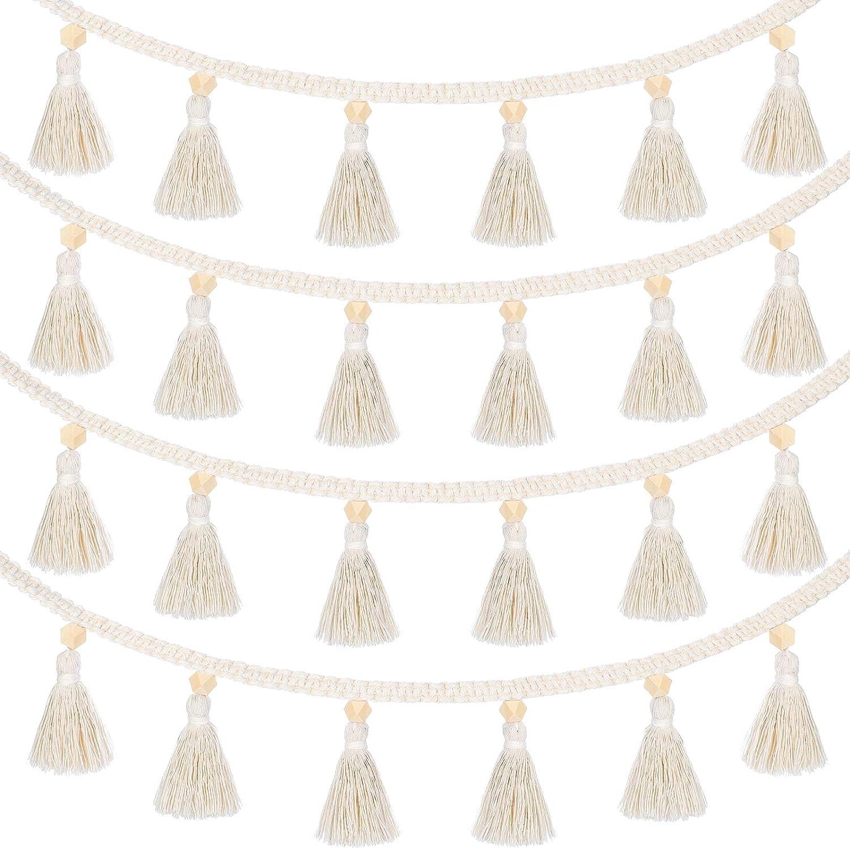 4 Pieces Macrame Woven Tassel Garland Hanging Tassel Cotton Fringe Garland Banner Basket Decorative Wall Hangings for Boho Home Decor Nursery Room