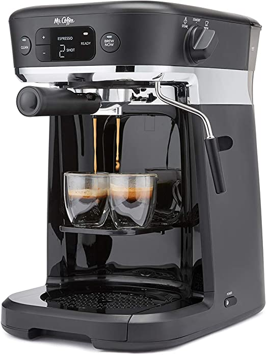 Mr. Coffee Occasions Coffee Maker | Thermal Carafe, Single Serve, Espresso & More | with Storage Tray, Black/Chrome