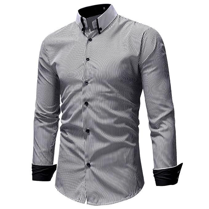 Hombre camisa manga larga Otoño,Sonnena ❤ Chaleco casual otoño invierno de los hombres Top de manga larga estampado a rayas con botones Camiseta Top ...