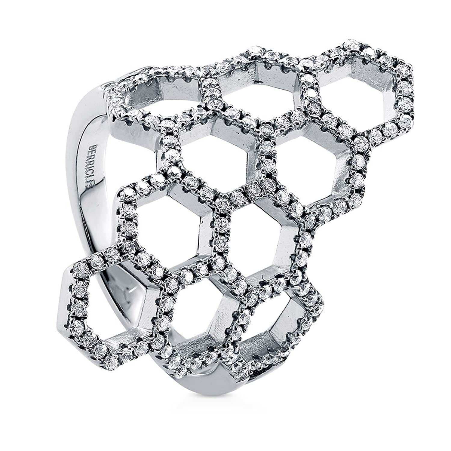 BERRICLE Rhodium Plated Sterling Silver Cubic Zirconia CZ Honeycomb Fashion Right Hand Cocktail Ring