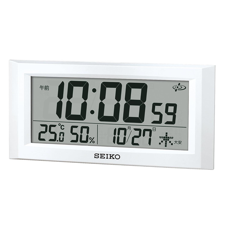 セイコー クロック 掛け時計 置き時計 兼用 衛星 電波 デジタル カレンダー 温度 湿度 表示 白 パール GP502W SEIKO B01M1KXM1R