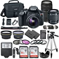 Canon EOS Rebel T6 DSLR Camera Bundle with Canon EF-S 18-55mm f/3.5-5.6 IS II Lens + Canon EF 75-300mm f/4-5.6 III Lens + 2pc SanDisk 32GB Memory Cards + Accessory Kit