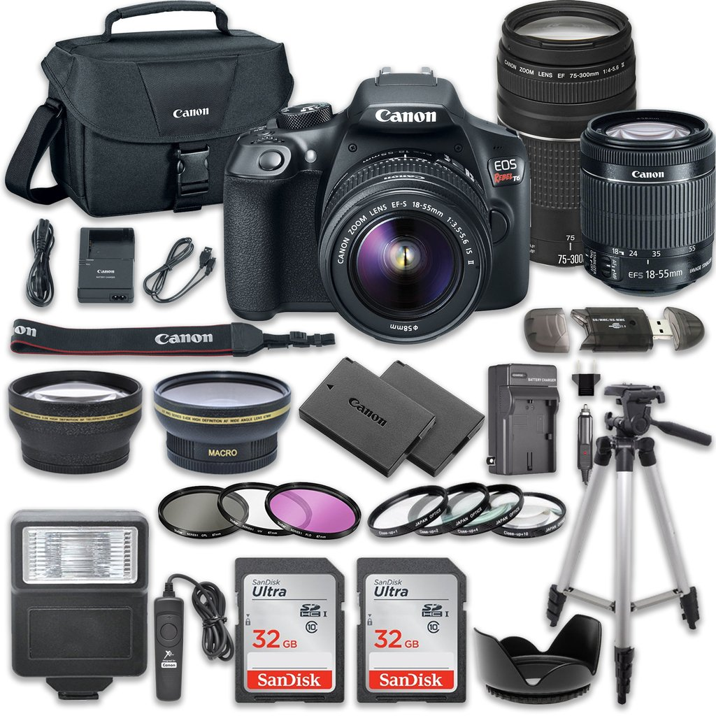 Canon EOS Rebel T6 DSLR Camera Bundle with Canon EF-S 18-55mm f/3.5-5.6 IS II Lens + Canon EF 75-300mm f/4-5.6 III Lens + 2pc SanDisk 32GB Memory Cards + Accessory Kit by Canon