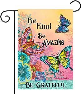 "Briarwood Lane Be Grateful Butterflies Spring Garden Flag Inspirational Floral 12.5""x18"""