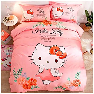 Peachy Baby Featuring Hello Kitty Bedding Sheet Set 【100% Cotton】 Single Twin Queen Double Full Size【Free Express Shipping】 3 and 4 Pieces Pink Cute Girly Cartoon Animate Girly (Queen Size): Home & Kitchen