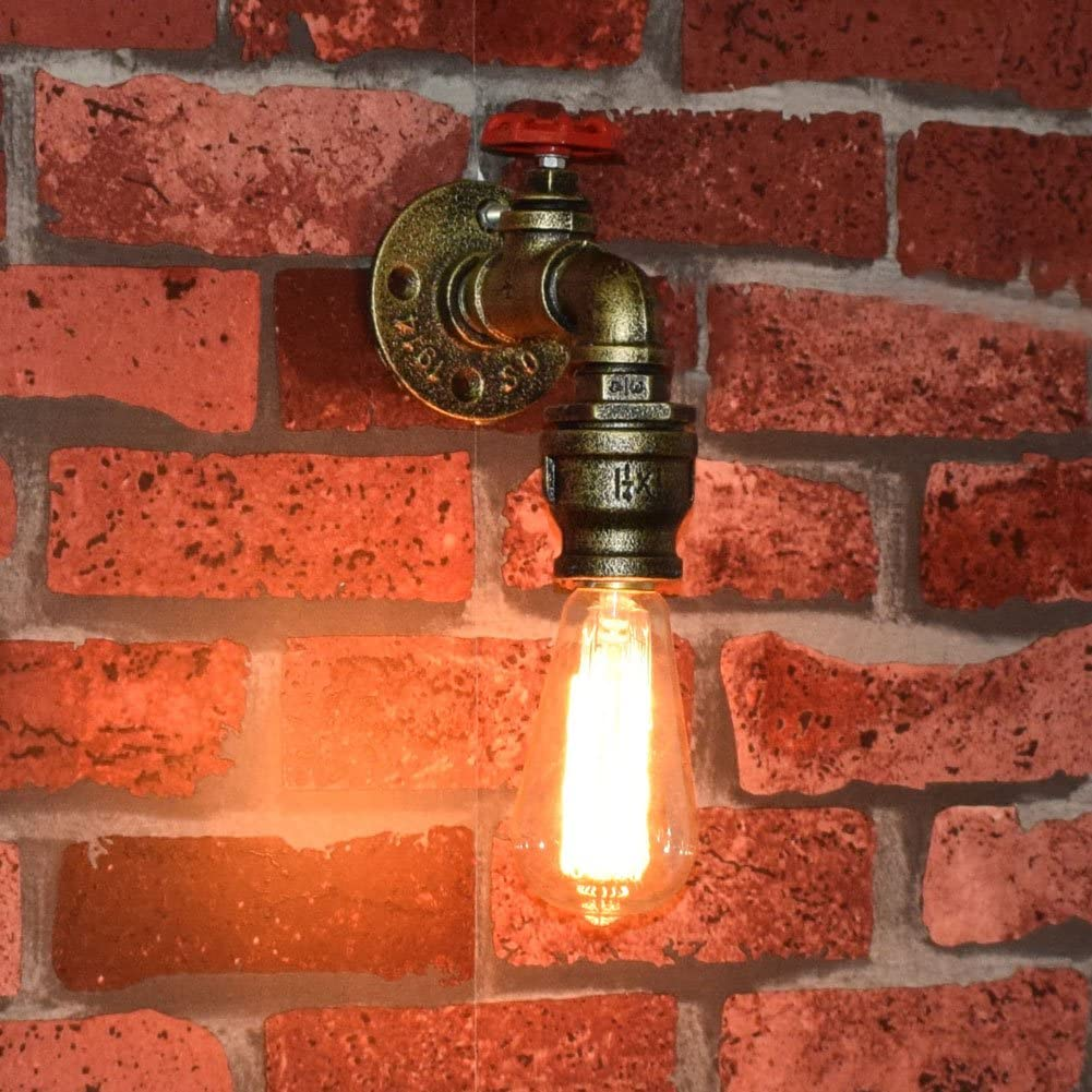 Fuloon Vintage Metal Loft Pipe Wall Light Lamp Retro Industrial Cafe Bar Wall Sconce E27 Lamp Base Set of 2 bulb not included