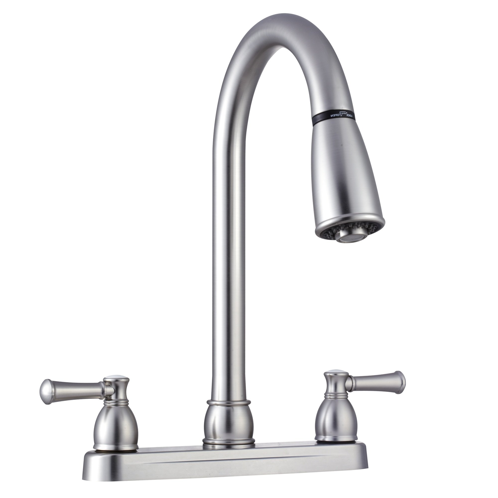 Dura Faucet RV Pull Down Kitchen Faucet for Recreational Vehicles, Motorhomes, 5th Wheels, Trailers - Hi-Rise Spout, Toggling Sprayer, Classical Levers & Easy Install (Brushed Satin Nickel)
